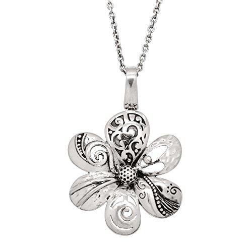 Silpada 'Fete-Et-Fleur' Filigree Flower Pendant Necklace in Sterling Silver