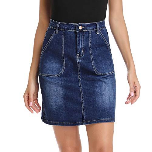 Mia Pristine Women's Casual Stretch A-Line Jean Skirt High Waisted Denim Skirt Side Slit, Blue 10