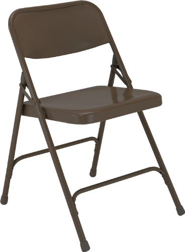 National Public Seating 200 Series All Steel Premium Folding Chair with Double Brace, 480 lbs Capacity, Brown (Carton of 4)