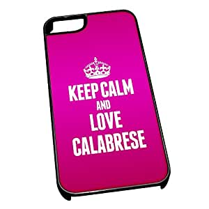 Negro carcasa para iPhone 5/5S 0891 rosa Keep Calm And Love Calabrese