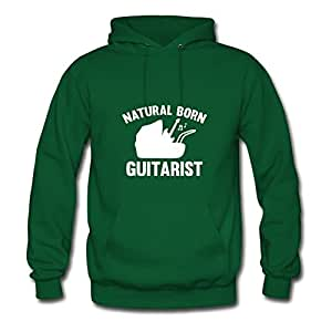 Popular Designed Green Women Natural Born Guitarist Created Hoodies X-large