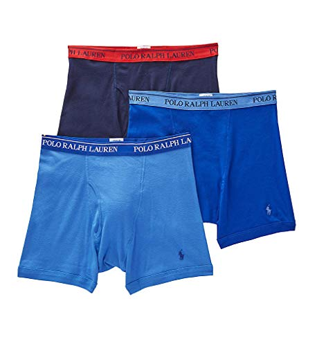 Polo Ralph Lauren Classic Fit Boxer Briefs with Moisture Wicking, 100% Cotton - 3 Pack (L, Aerial Blue) (Ralph Polo Lauren Boxers)