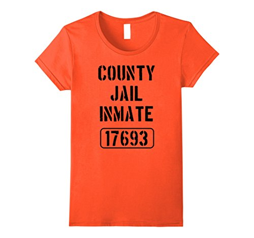Womens Prisoner Costume Tshirt | County Jail Inmate Funny Tee Large Orange - Prison Inmate Costume For Women