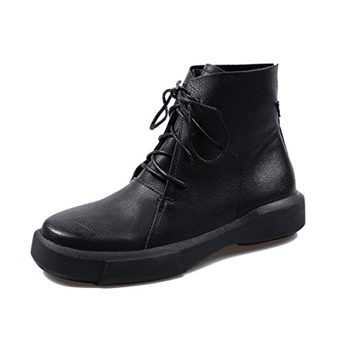 LL STUDIO Womens' Comfort Simple Round Toe Black Leather Lace-up Bootie Shoes 8.5 B(M) US