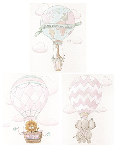 Hot Air Balloon Girls Bedroom Travel Themed Baby Nursery, Set Of 3 Blush Pink Personalized Adventure Travel Wall Art, Giraffe, Elephant, Lion, Dr. Seuss Quote, 6 Sizes by Debbie Cerone