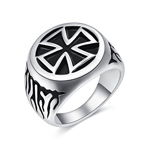 Antique Vintage Cross (Mens Maltese Cross Fire Ring Vintage Antique Stainless Steel Flame Biker Rings for Men Boys Dad Boyfriend Husband Son Best friends Punk Gothic Hip hop Rock Christmas Birthday Gift Jewelry Size 8)