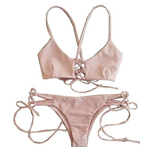 Yesiyan Women's Sexy Two Pieces Bikini Swimsuit Swimwear Bathing Suits Pink (M)