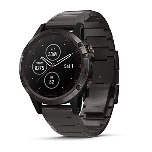 Garmin Fenix 5 Plus, Premium Multisport GPS Smartwatch, Features Color TOPO Maps, Heart Rate Monitoring, Music and Garmin Pay, Carbon Gray -