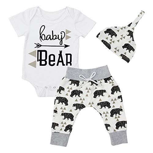Baby Outfit Happy Bear Short Sleeve Romper Long Pants with Hat for Newborn Infant (0-3 Months, White)