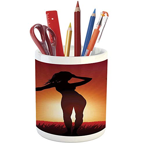 Pencil Pen Holder,Girls,Printed Ceramic Pencil Pen Holder for Desk Office Accessory,Silhouette of Female Human Body in The Sunshine of Exotic Lands Image Print