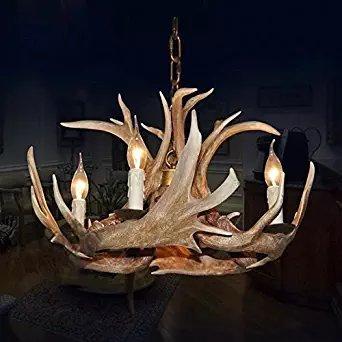 EFFORTINC Antlers vintage Style resin 4 light chandeliers, American rural countryside antler chandeliers,Living room,Bar,Cafe, Dining room deer horn chandeliers