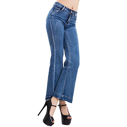 Alla Caviglia Pantaloni Elefante Campana Toocool Jeans Flare Zampa J3049 Alta Vita Donna zwCZSWvq