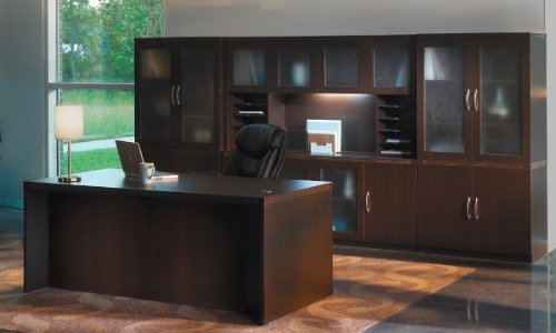 Mayline Aberdeen AT35 Executive Desk with Hutch Cherry
