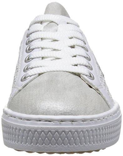 Bianco weiss Basse argento silver Rieker Ginnastica Da silber L59b4 white Donna weiss Scarpe WFzzR17Y
