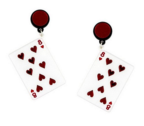 CutieJewelry Dangle Poker Party Unique Players Big Hearts Card Earrings -