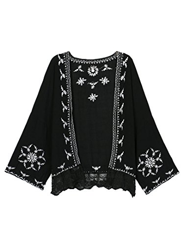Persun Embroidery Sleeve Kimono Blouse