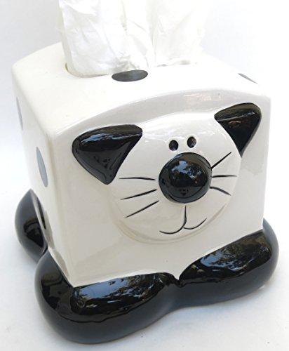 Black & White Cat Figurine - Shopitivity LLC Cat, Kleenex, Tissue Box Holder, Ceramic, Black and White Cat Theme Includes a Adorable Figurine Accessory.