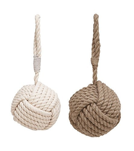 Price comparison product image Assorted rope doorstop with pearl white texture beige - set of 2