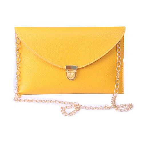 HDE Women's Envelope Clutch Purse Handbag (Yellow) (Clutch Purse)