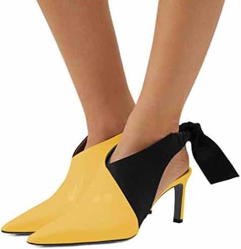 a069c601093 FSJ Women Dressy Pointed Toe Mid Heel Pumps Slip on Loafers Stiletto Sandals  Comfort Shoes Size