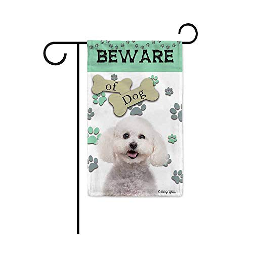 BAGEYOU Beware of Dog Bichon Frise Decorative Garden Flag Puppy Paws Bone Home Decor Yard Banner for Outside 12.5X18 Inch Printed Double Sided (Bichon Frise Bone)