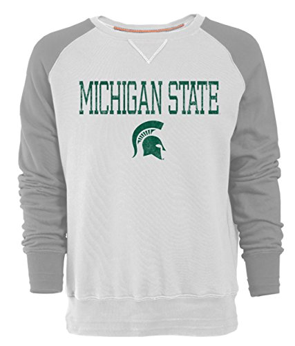 - Camp David NCAA Michigan State Spartans Men's Sueded Fleece Crew Pullover, X-Large, Ivory/Oxford