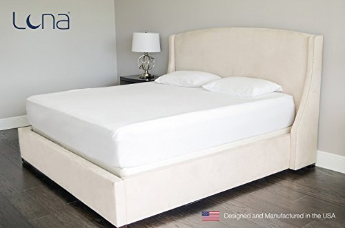 Luna Mattress Protector wrapped around a mattress and laid on a cream bed with headboard and nightstand featuring a reading lamp