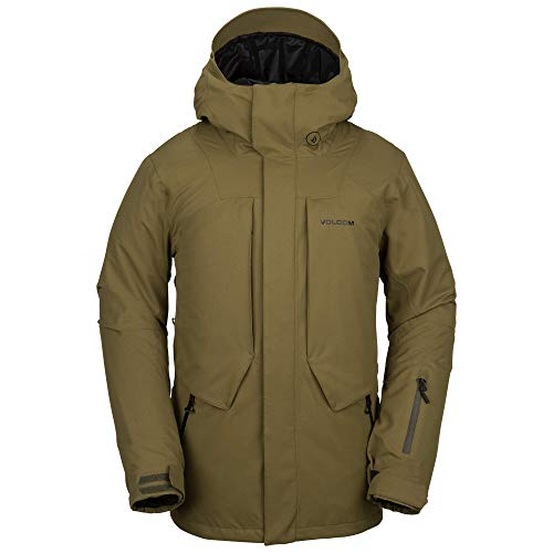 Volcom Men's Anders 2L Thermal Lined Snow Jacket, Moss Large (Mens Snowboard Pants And Jacket)