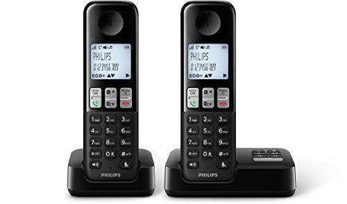 Philips D2352B/38 schnurloses Telefon mit Anrufbeantworter (4,6 cm (1,8 Zoll) Display, HQ Sound, Privatsphären-Modi, 2 Telefone) schwarz