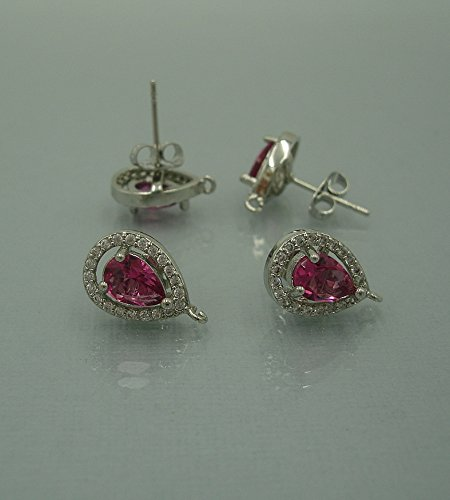 BeadsTreasure 2pcs-Teardrop Rose Pink Crystal Cubic Zirconia CZ Rhodium Plated Earstud Earrings Post Findings Wedding Earrings. (Earstud Post)