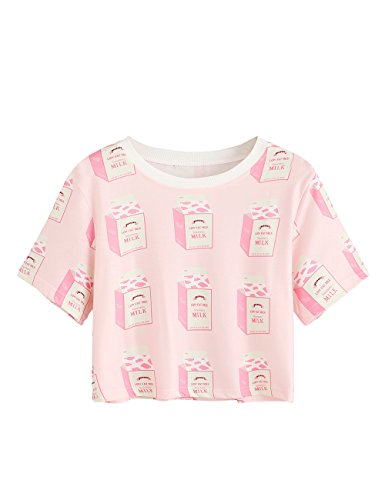 MakeMeChic Women's Short Sleeve Oversized Striped Summer Crop Tee T-Shirt Top Milk-Pink M