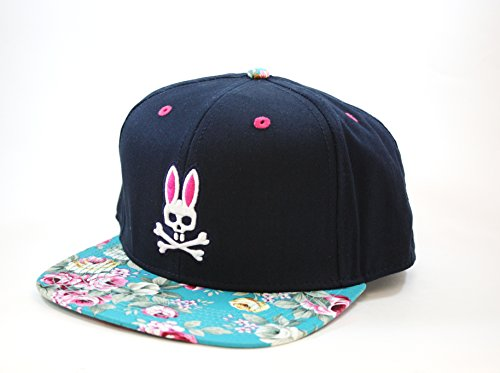 Psycho Bunny Rockaway Flat Bill Hat in Dark Navy - Import It All e69ae2dafd9