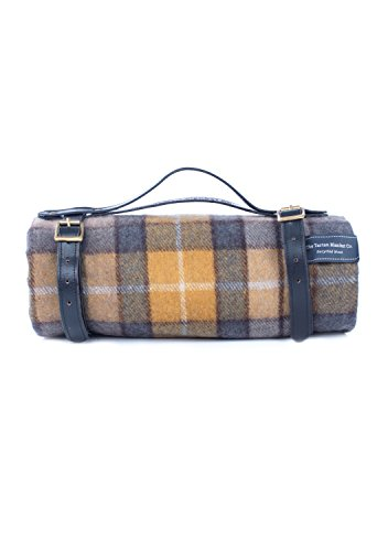 The Tartan Blanket Co. Recycled Wool Buchanan Natural Tartan Picnic Blanket with Leather Strap - Black (55