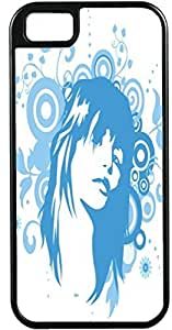 THYde iPhone 4/4s Cases Customized Gifts Cover Beautiful woman with serious expression - light blue and white artistry Case for iPhone 4/4s ending