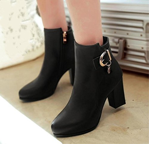 Ladies Black High 34 Boots Size Red Martin New Shoes Women's Black White Boots 38 Casual heeled Short Brown Fashion Boots cvHYAR
