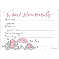 Elephant Girl Baby Shower Wishes and Advice for Baby Cards (50 Count)