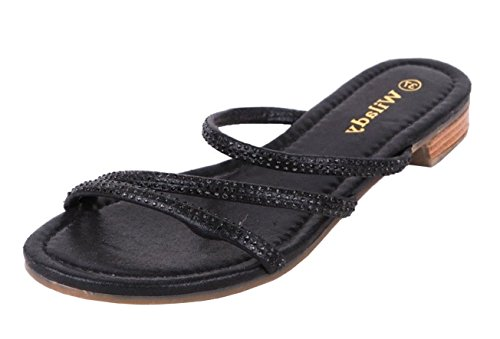 SHU CRAZY Womens Ladies Strappy Diamante Flat Slip On Open Toe Summer Fashion Sandals Shoes - P58 Black qiA8J5