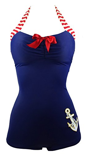 COCOSHIP Navy Blue & Red 50s Retro Nautical Striped Vintage One Piece Swimwear Anchors Away Halter Swimsuit XXL(FBA) ()