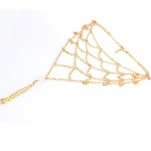 Dolland Boho Vintage Multi Chain Mesh Net Tassel Anklets Bracelet Barefoot Sandals Beach Foot Jewelry ()