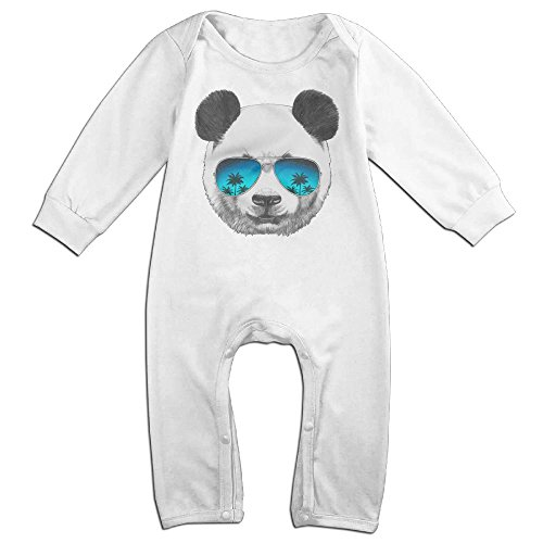 [Baby Infant Romper Panda-with-sunglasses Long Sleeve Jumpsuit Costume White 6 M] (Panda Bear Baby Plus Size Costumes)