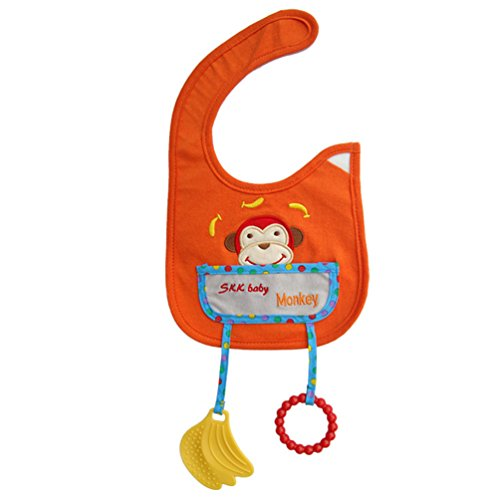 [Monkey Animal Style Waterproof Baby Bibs With Teether Toy Burp Cloths Saliva Towel] (Infant Red Minnie My First Disney Costumes)