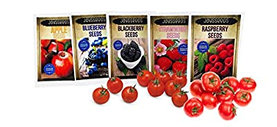 Fruit Combo Pack Raspberry, BlackBerry, Blueberry, Strawberry, Apple, Tomato 675+ Seeds UPC 695928807000 & 4 Free Plant Markers
