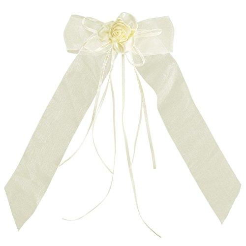Satin Rosette Ribbon Bow (4x Organza Satin Ribbon Bows Bowknot Rosette Wedding Cars Gift Wrap Decoration (13x30cm, beige))