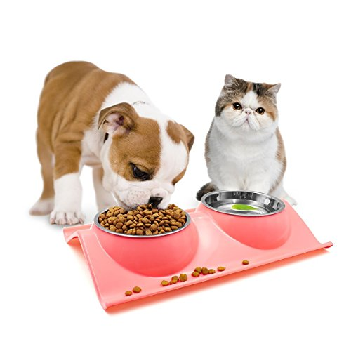 te Stainless Steel Dogs Cats Food Feeder Bowls Set (pink) (Retriever Dog Bowl)