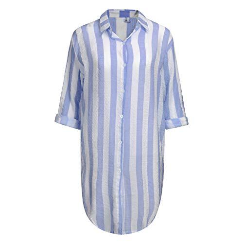 (Women's Chiffon Long Kimono Sheer Loose Cardigan Lightweight Breathable Cover ups Striped Shawl Cardigan Tops Blouse)