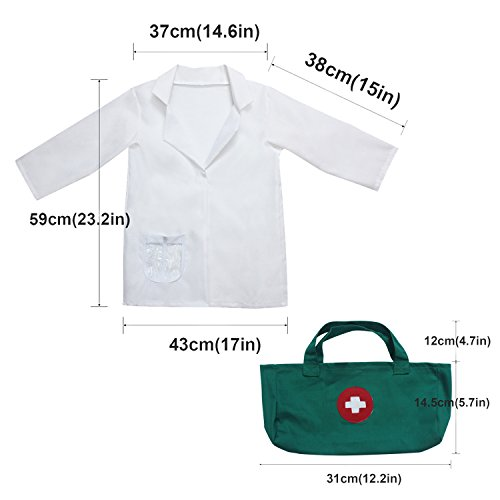 fedio 9Pcs Kids Doctor Costume Dress up Role Play Set with Doctor Lab Coat,Mask and Accessories for Toddlers Ages 3-6 by fedio (Image #1)