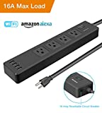 WiFi Smart Power Strip, Tonbux Surge Protector with 4 USB Charging Ports and 4 Smart AC Plugs for Multi Outlets Power Socket Extension Cord, Voice Controlled by Amazon Echo & Google Home (16-Black)