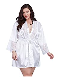 DreamGirl Womens Plus Size Satin Charmeuse Robe with Lace Trim Details Lingerie