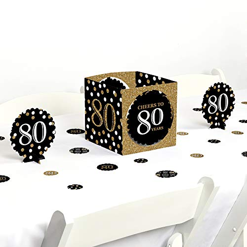 Big Dot of Happiness Adult 80th Birthday - Gold - Birthday Party Centerpiece & Table Decoration Kit]()
