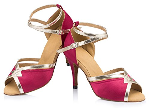 Honeystore Womens Thick Heel Ankle Strap Dance Shoes Fuschia shbKtGs